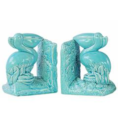Pelican Bird on Base Bookend Assortment of 2 - Blue - Benzara