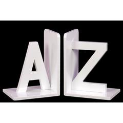 "Wood Alphabet Sculpture ""AZ"" Bookend Assortment of 2 - White - Benzara"