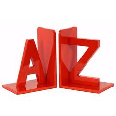 "Wood Alphabet Sculpture ""AZ"" Bookend Assortment of 2 - Red - Benzara"