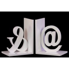 "Wood Alphabet Sculpture ""@&"" Bookend Set of 2 - White - Benzara"