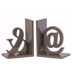 "Wood Alphabet Sculpture ""@&"" Bookend Assortment of 2 - Gray -Benzara"