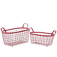 Rectangular Wire Basket with Handles and Mesh Body Set of Two Red - Benzara