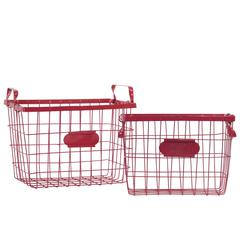 Wire Basket with Handles and Card Holders Set of Two - Red - Benzara