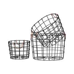 Round Nesting Wire Basket with Two Handles Set of Three Black - Benzara