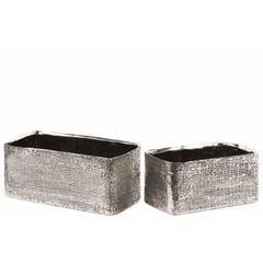 Electroplated Ceramic Rectangular Planter Set of Two- Silver- Benzara