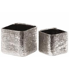 Square Planter with Engraved Crises Cross Design Set of 2- Silver- Benzara