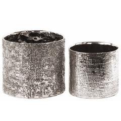 Tall Round Planter with Engraved Crises Cross Design Set of 2- Silver- Benzara