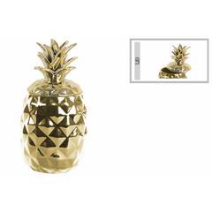 Alluring Ceramic Pineapple Canister- Gold- Benzara