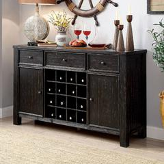 Sania III Rustic Style Server, Antiqued Black Finish