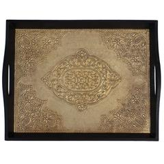 UNIQUE Serving Tray - Antique Look Brass Serving Tray with Handles