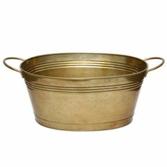 Large Gold Finish Tub With Side Handles