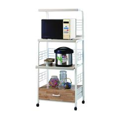 Commodious Kitchen Shelf On Casters, White