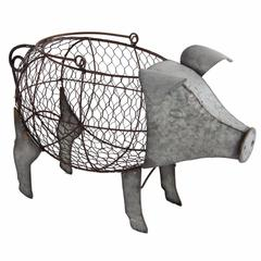 Uniquely Functional Metal Pig Basket