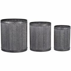 Rustically Charming Set of 3 Clemson Vertical Ridge Metal Pots