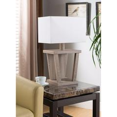 Captivating Table Lamp With Contemporary Base, Light Brown