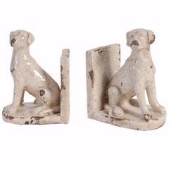 Ceramic Sitting Dog Bookends, Set of 2