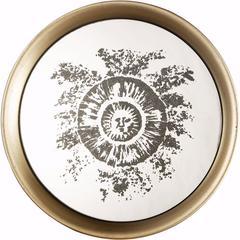 Stylish Round Mirrored Tray, Multicolor