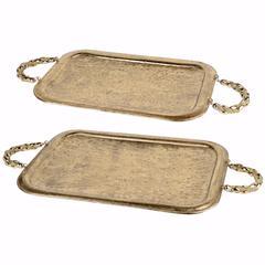 Set of 2 Rectangular Golden Metal Trays