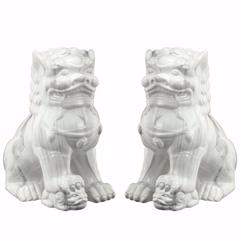 Set Of Two -Guardian Lion Bookends -Glossy White