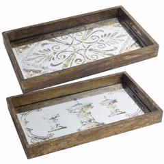 Rectangular Glass & Wood Trays, Set of 2