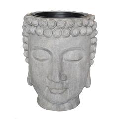 Pleasing Decorative Resin Buddha Head Flower Pot, Gray