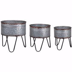 Preferable Set of 3 Acoma Galvanized Metal Tubs