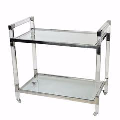 Glamorous Acrylic and Glass Service Trolley, Clear