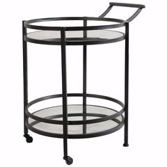 Elegant Round Metal Serving Cart With Castors, Black