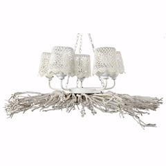 Appealing 5-Light Shaded Chandelier, White