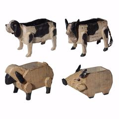 Chic Poplar Wood Barnyard Animal Planters, Set of 4, Black and Brown
