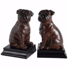 Whimsical Bull Dog Bookends, Dark Brown and Black, Set of 2