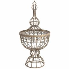 Metal Basket with Finial Lid, Brown