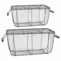 Rectangular Chicken Wire Baskets, Set of 2, Gray