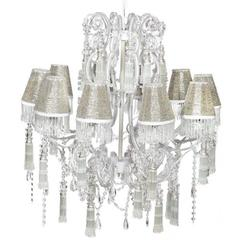 Elegantly Charmed Clear Chandelier, Silver