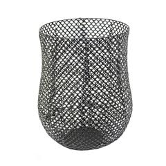 Captivating Cutout Metal Barrel Basket, Black