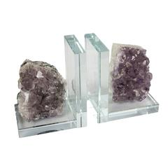 Transparent Glass With Amethyst Bookends, Set of Two, Purple