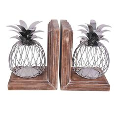 METAL PINEAPPLE BOOK ENDS, SET OF 2, SILVER