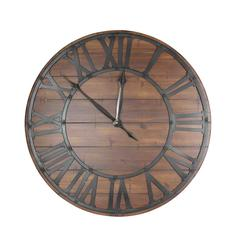 BEAUTIFUL METAL AND WOOD WALL CLOCK, BLACK AND BROWN