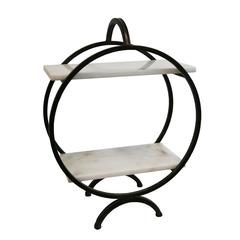 ROUND METAL TIERED TABLETOP SHELF, BRONZE