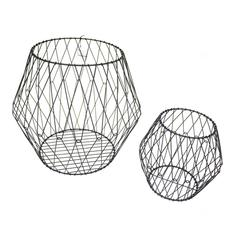 Set Of Two Wire Designed Metal Baskets, Black
