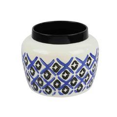 Alluring Ceramic Pot, White/Blue
