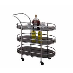Metal and Glass Serving Cart with elevated Handle, Black