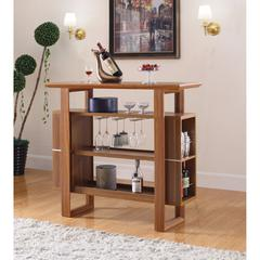 Alluring Bar Unit With Wine Glass Rack, Brown