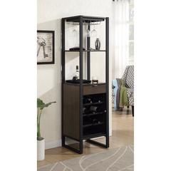 Robust  Wine Tower with Bottle and Glass Storage, Brown And Black