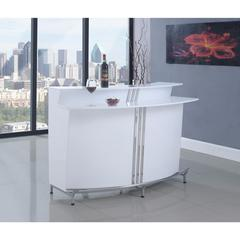 Dazzling Contemporary Bar Unit with Stemware Racks, White