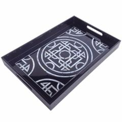 Contemporary Lacquered Serving Tray, Black