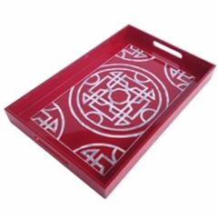 Terrific  Lacquered Serving Tray, Red