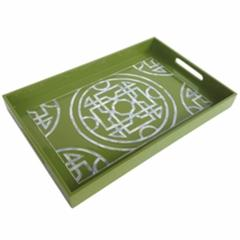 Sophisticated Lacquered Serving Tray, Green