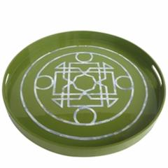Stylish Round Lacquered Serving Tray, Green