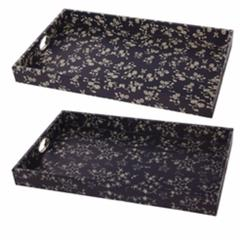 Astonishing  Rectangular Trays,  Black Set Of 2